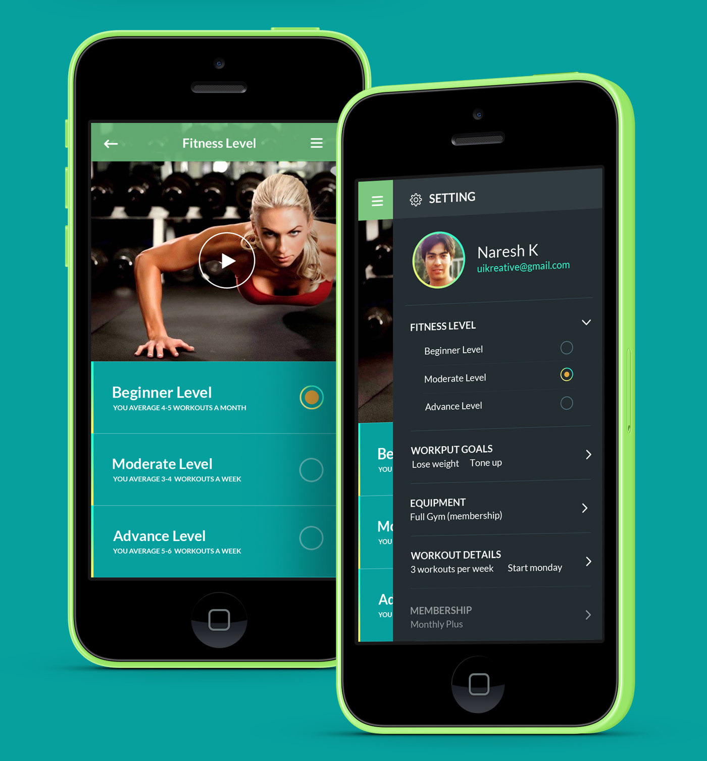 Home Design Ideas App: Fitness And Gym Mobile App UI UX And Website Design By